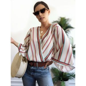 Tops - 🆕Daize Striped Surplice Kimono Top